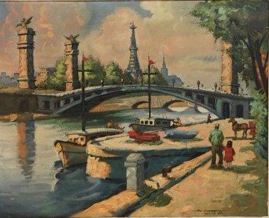 Impressionist Parisian Quai painting Pen Shumaker 1954