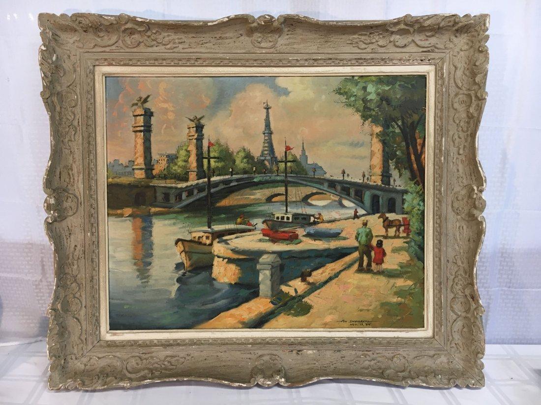 Impressionist Parisian Quai painting Pen Shumaker 1954 - 2
