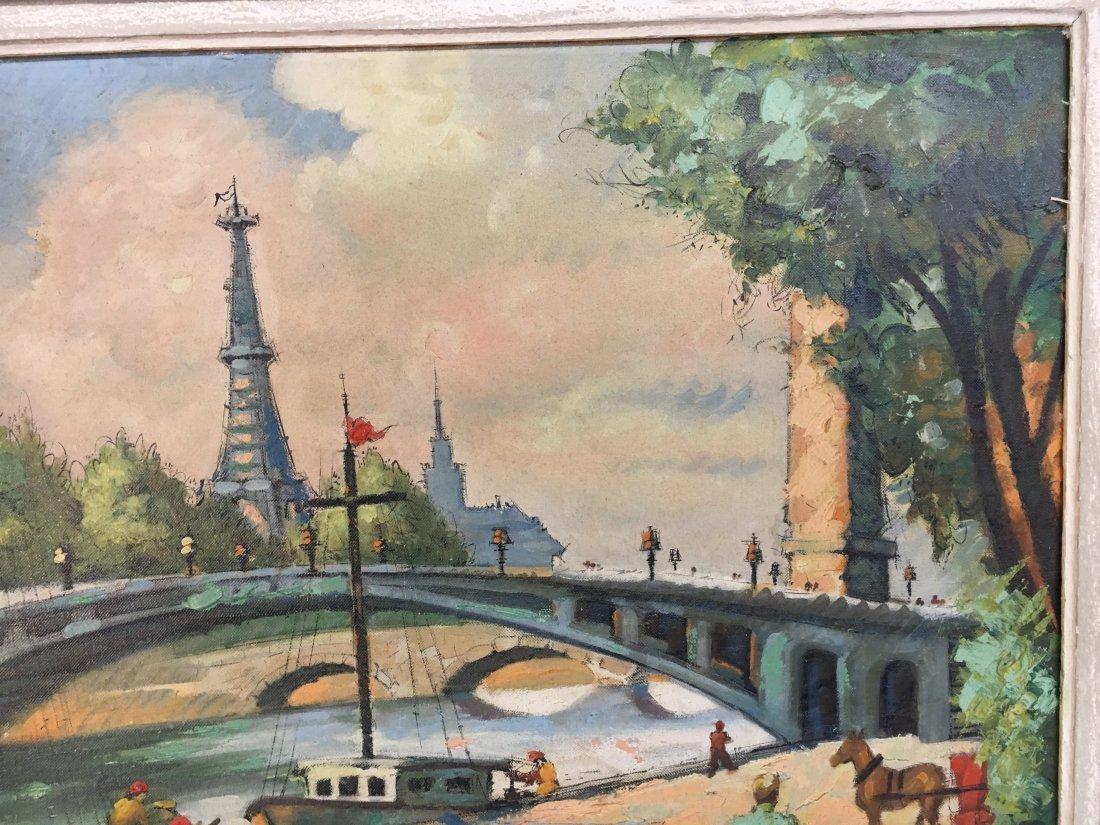 Impressionist Parisian Quai painting Pen Shumaker 1954 - 3