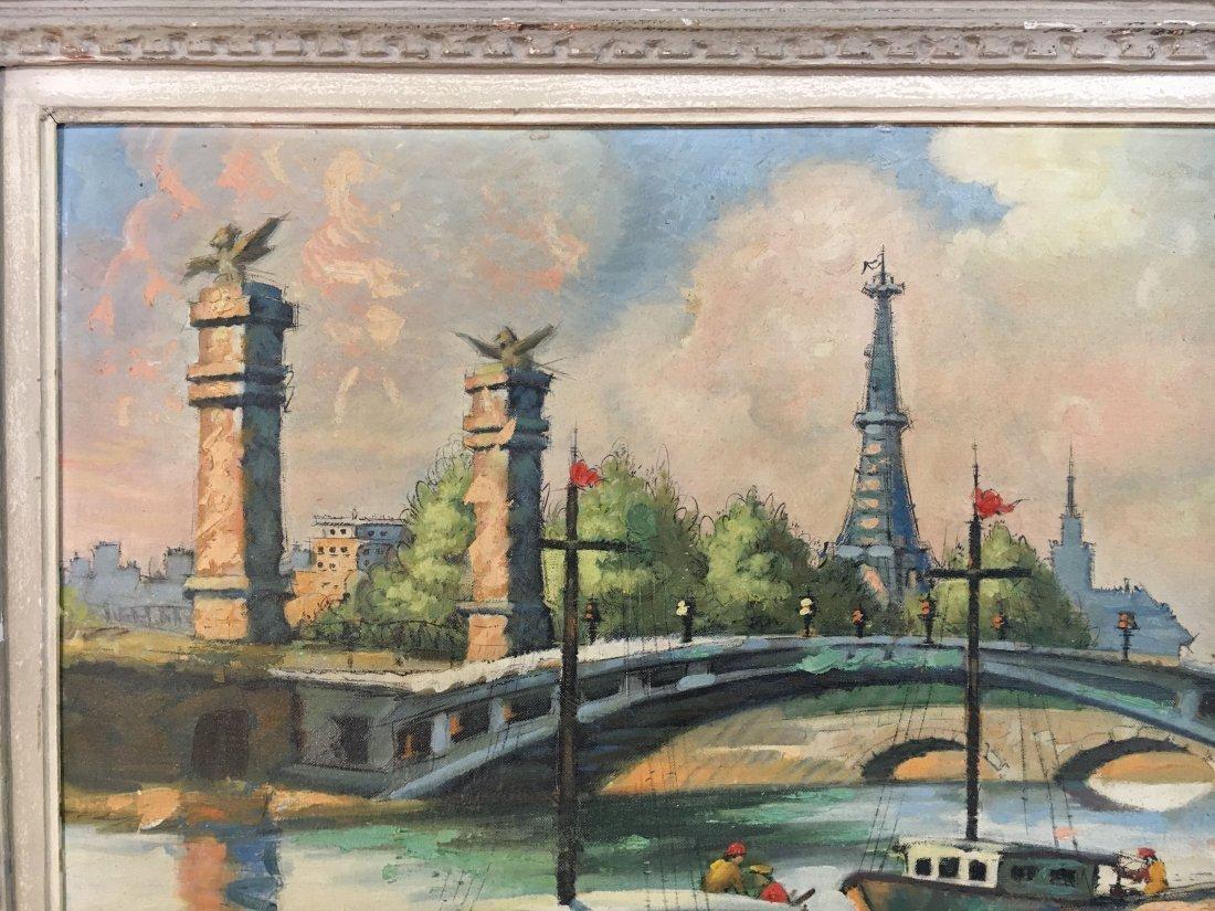 Impressionist Parisian Quai painting Pen Shumaker 1954 - 4