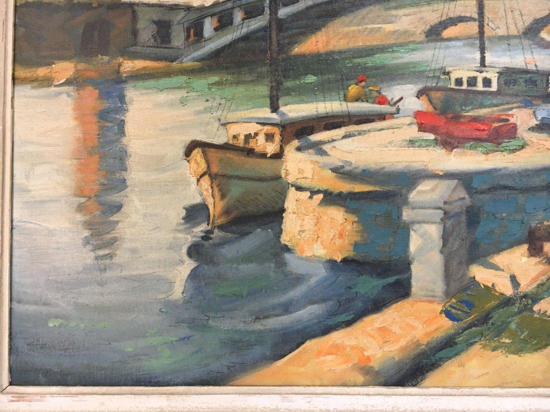 Impressionist Parisian Quai painting Pen Shumaker 1954 - 5
