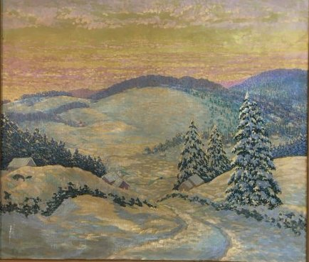 Morzon impressionist winterscape painting on canvas