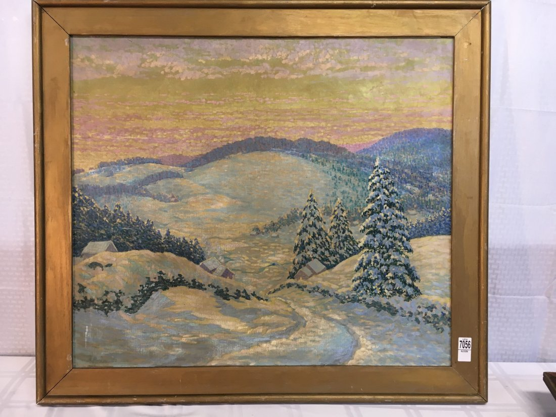 Morzon impressionist winterscape painting on canvas - 2