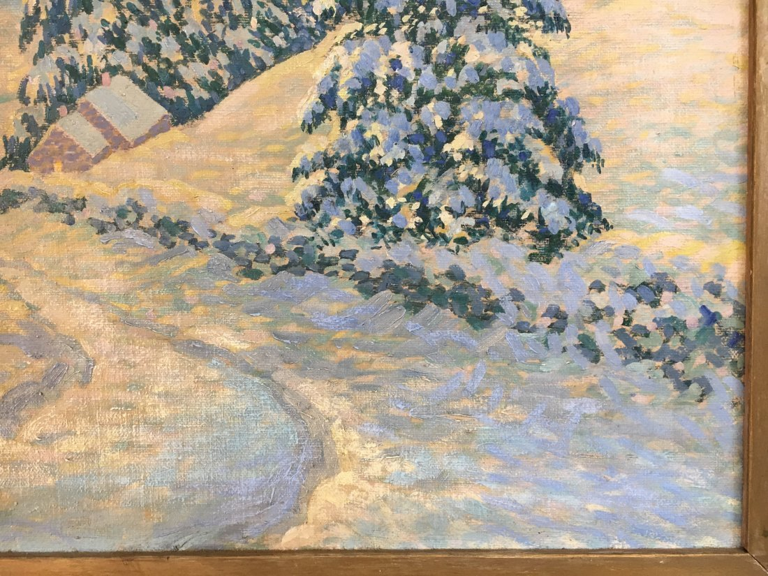Morzon impressionist winterscape painting on canvas - 5