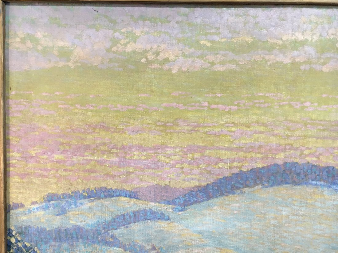 Morzon impressionist winterscape painting on canvas - 7
