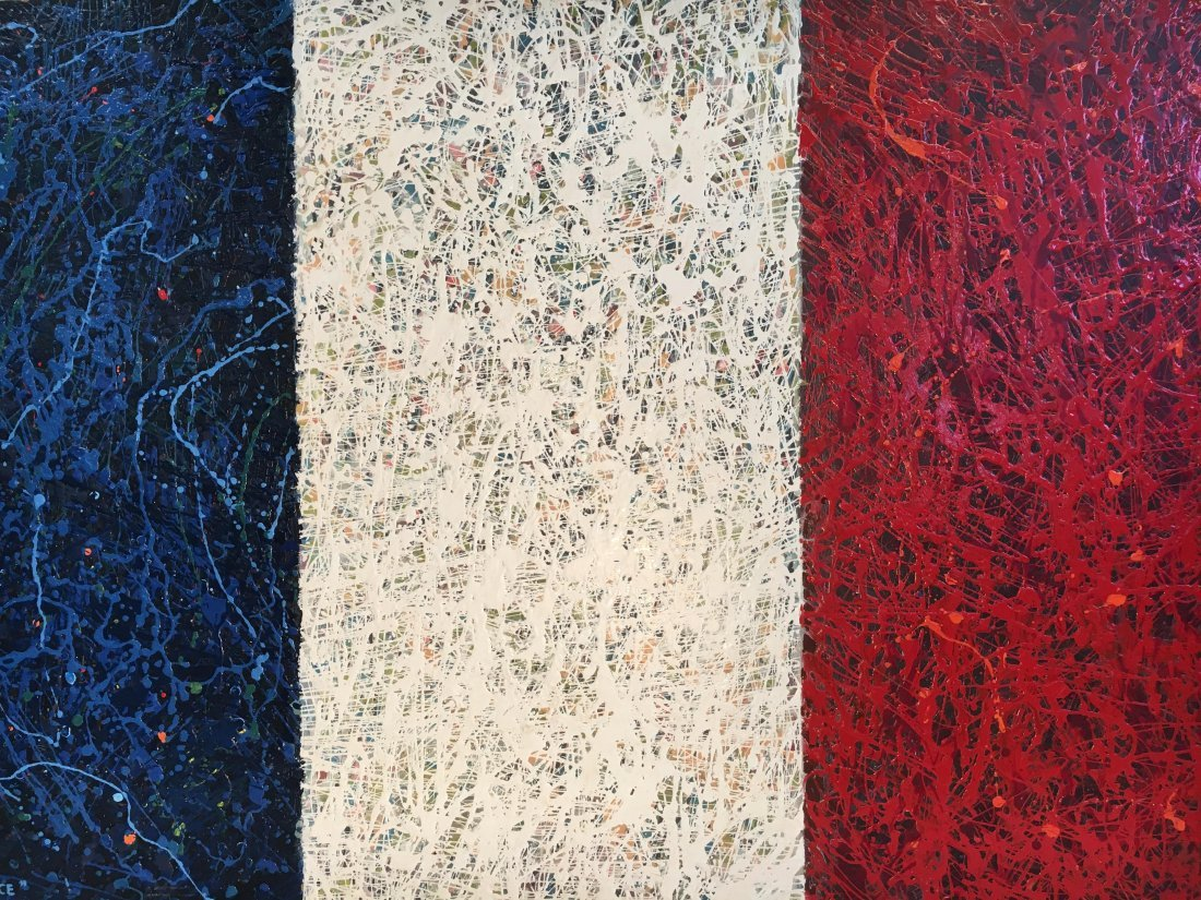 """Vive la France"" abstract painting by Karl Mueller"