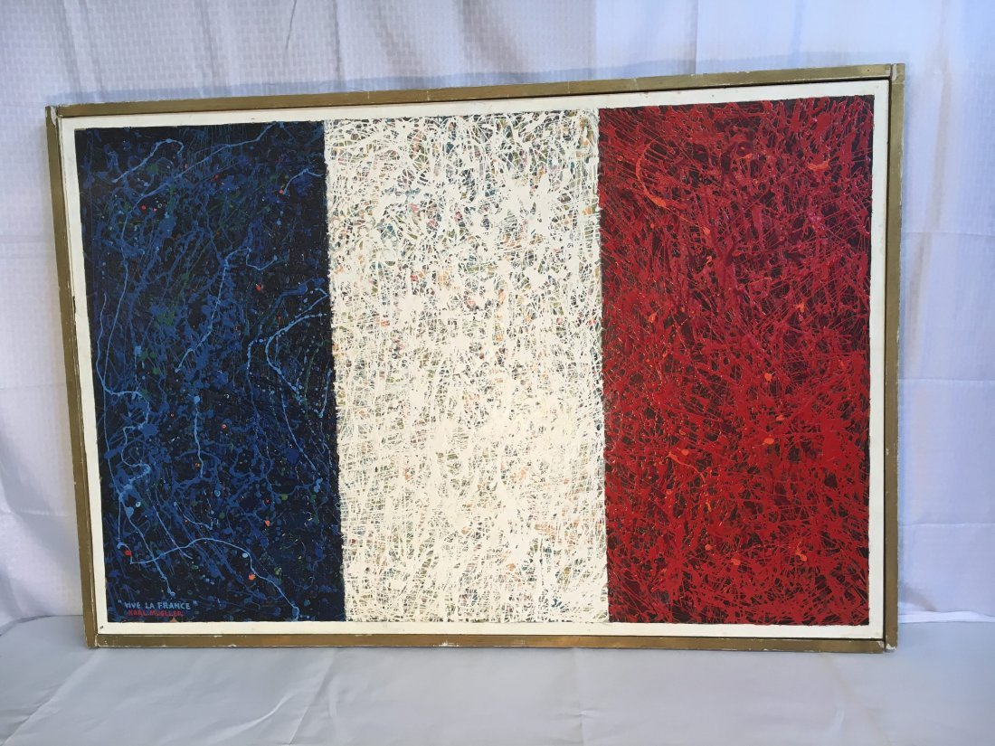 """Vive la France"" abstract painting by Karl Mueller - 2"