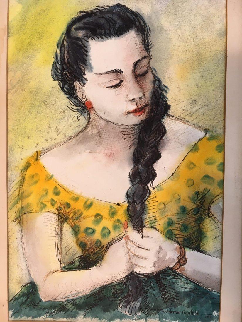 Woldemar Neufeld original watercolor portrait 1958