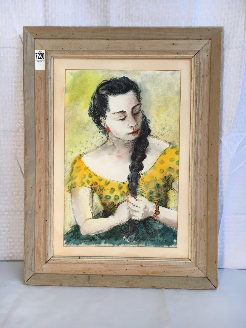 Woldemar Neufeld original watercolor portrait 1958 - 2