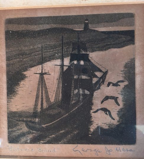 """George Jo Mess etching """"Outward Bound"""" 1930"""