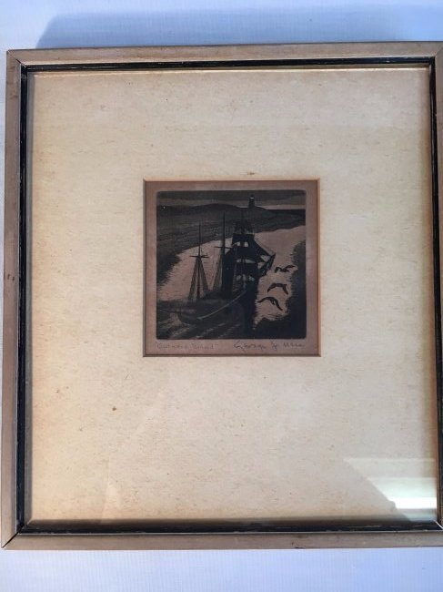 "George Jo Mess etching ""Outward Bound"" 1930 - 2"