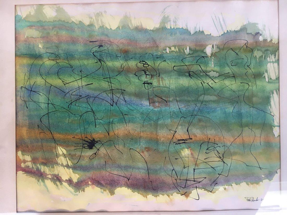 Peter Hanks original watercolor ink painting '64