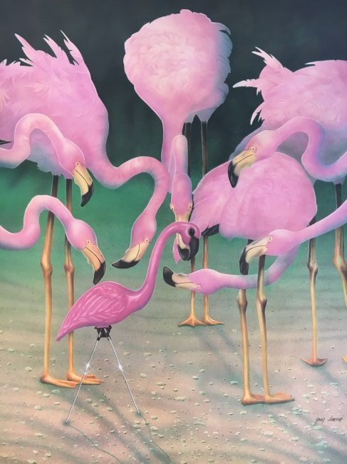 Greg Jensen flamingo pop art print signed #d