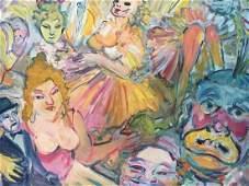 James G. Davis (1931-) Expressionist cabaret painting