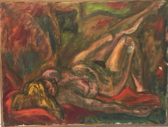 Large Expressionist recumbent nude painting