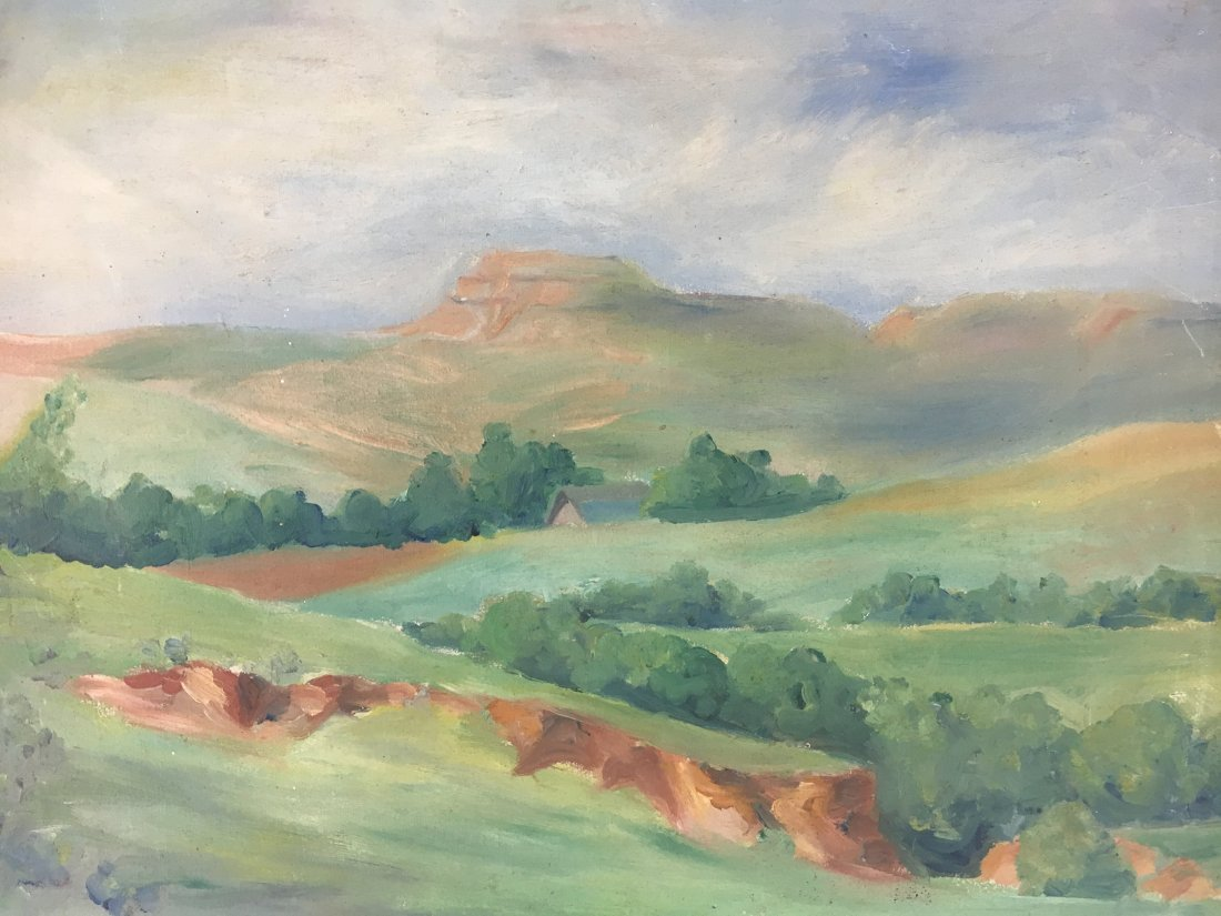 1930s plein air landscape painting by Hussey