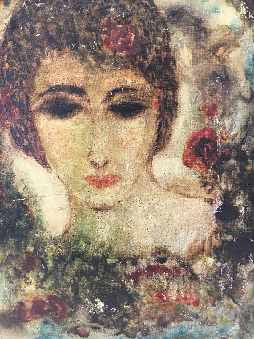 Surrealist painting woman's head signed Dali