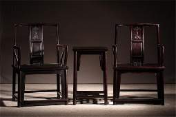 Pair Of Zitan Wood Dragon Chairs