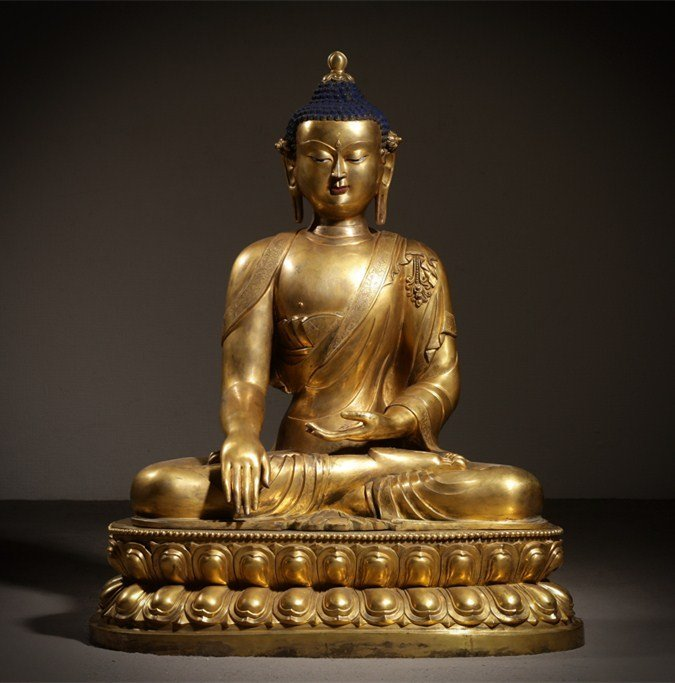 Large Chinese Qing Dynasty Gilt Bronze Seated Buddha