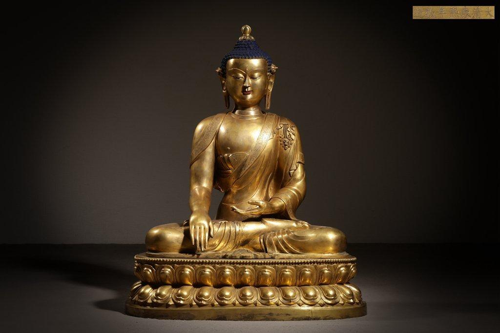 Large Chinese Qing Dynasty Gilt Bronze Seated Buddha - 2