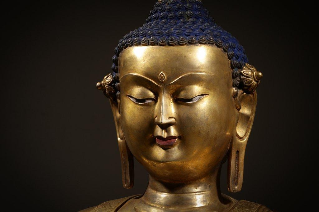Large Chinese Qing Dynasty Gilt Bronze Seated Buddha - 7
