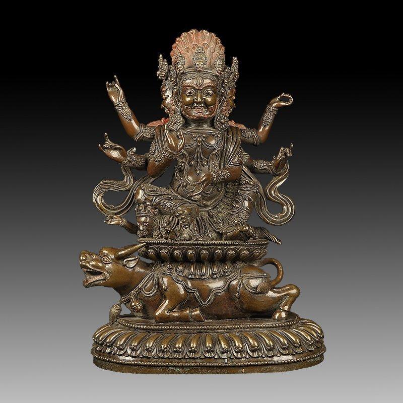Chinese  Bronze Figure of A Six-Armed Mahakala