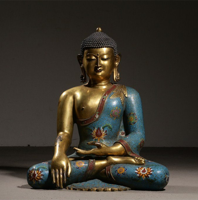 Large Chinese Qing Cloisonne Gilt Bronze Sakyamuni
