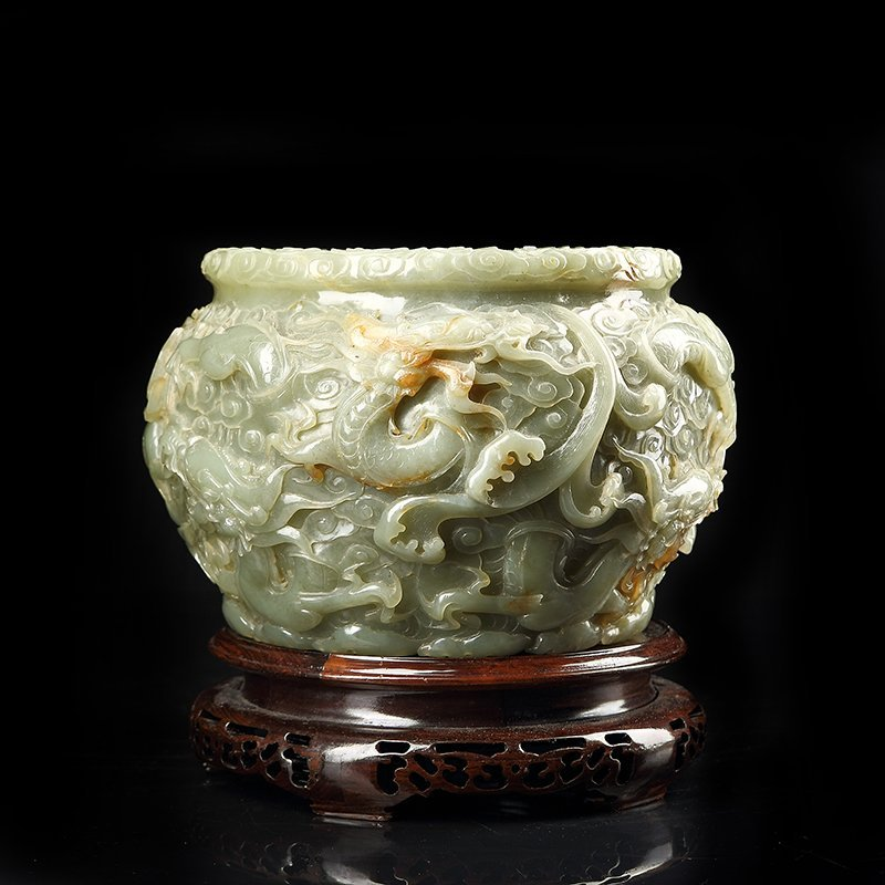 Chinese Hetian Jade Carved With Dragons Brush Washer