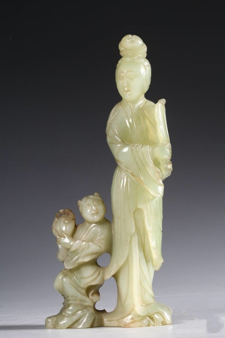 Chinese Natural Hetian Jade Mother and child Statue