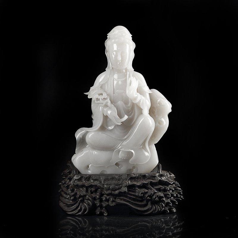 Chinese Natural White Hetian Jade Kwan-yin Statue