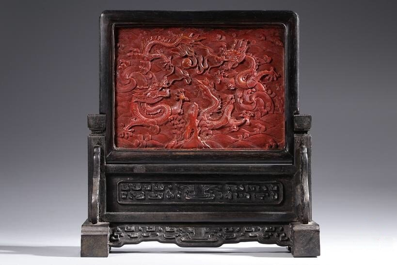 Chinese Zitan Wood Inlaid Red lacquered Dragon Screen