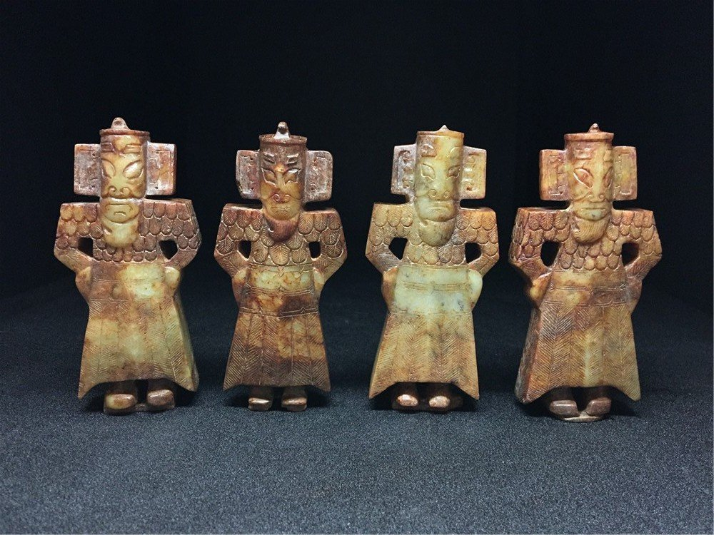 Four Chinese  Hetian carved jade figures