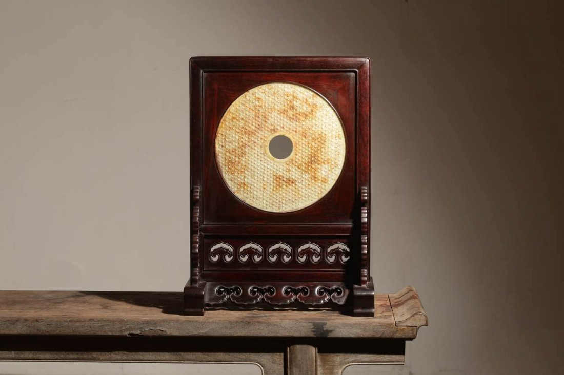 Chinese Zitan Wood inlaid with jade screen