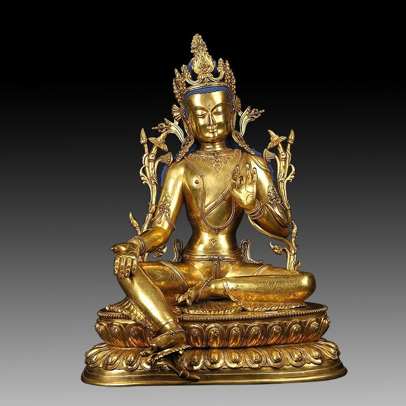 Large Chinese Qing Dynasty Gilt Bronze Figure of Tara