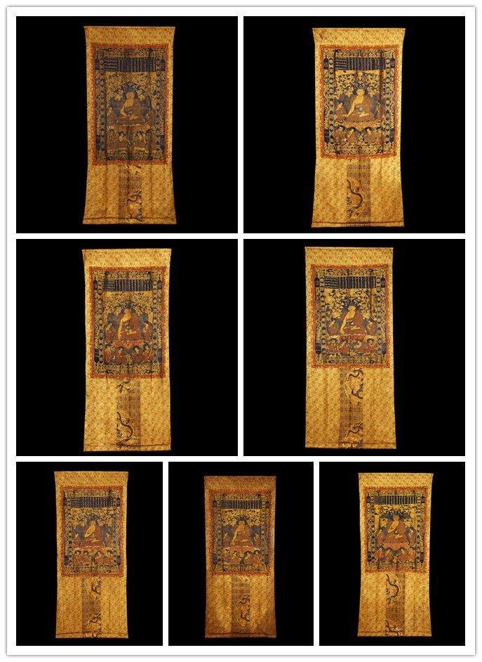 Seven of Chinese  Qing Royal Silk Buddhist Thangkas