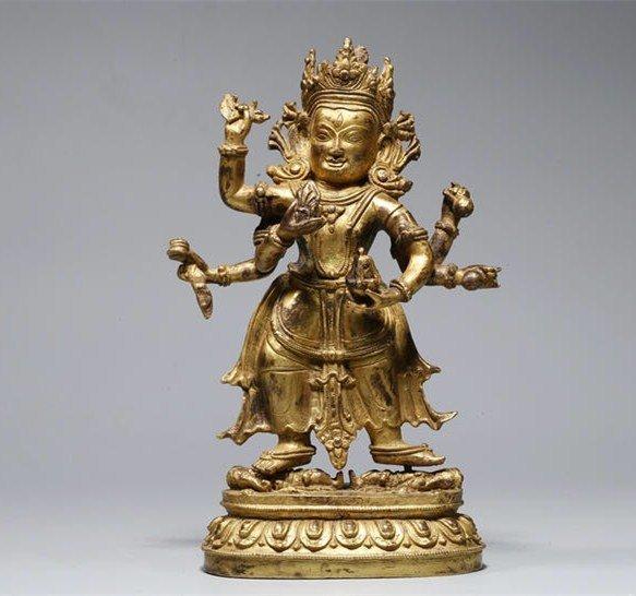 Chinese Qing Dynasty Bronze Buddha Figure