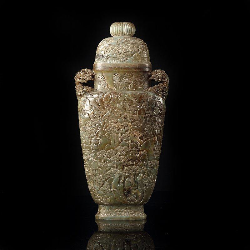 Vintage Chinese Hetian Jade Fortune Beasts Big Vase