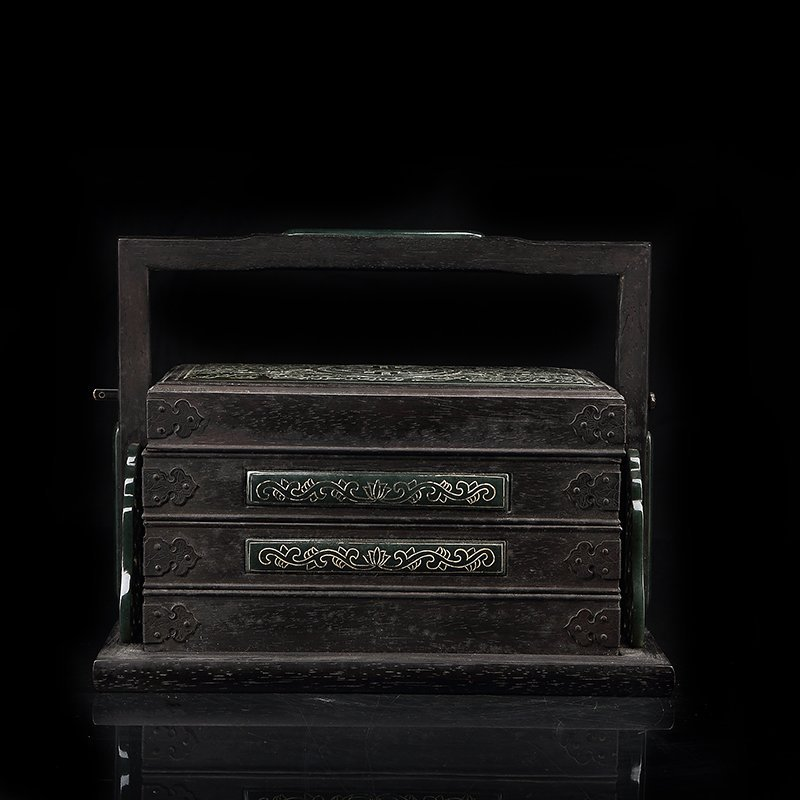 Chinese Zitan Wood inlaid with  Green jade  Box