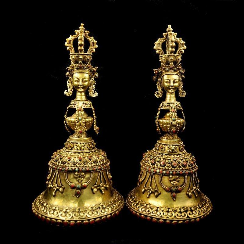 Pair of Tibetan Buddhist Gilt Gold Bronze Bells