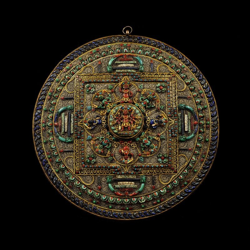 Vintage Tibetan Buddhism  Silver Wire  Mandala