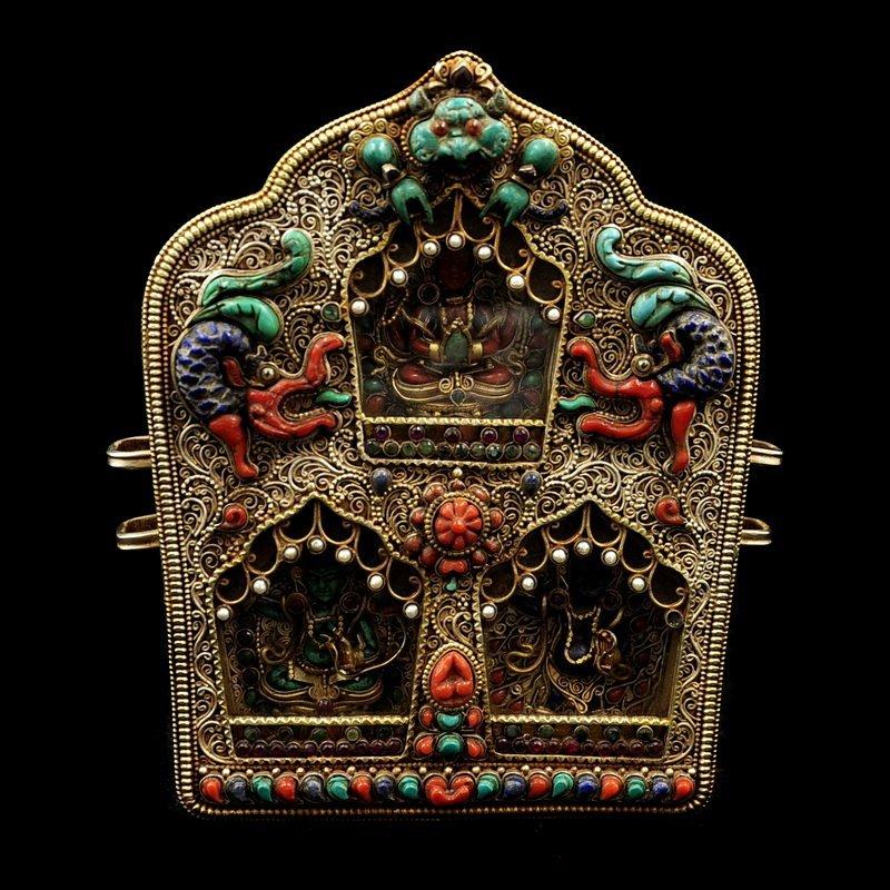 Vintage Tibetan Buddhism  Silver Wire  Box