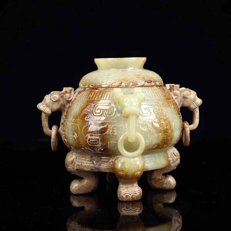 Chinese Hetian Jade  Incense Burner