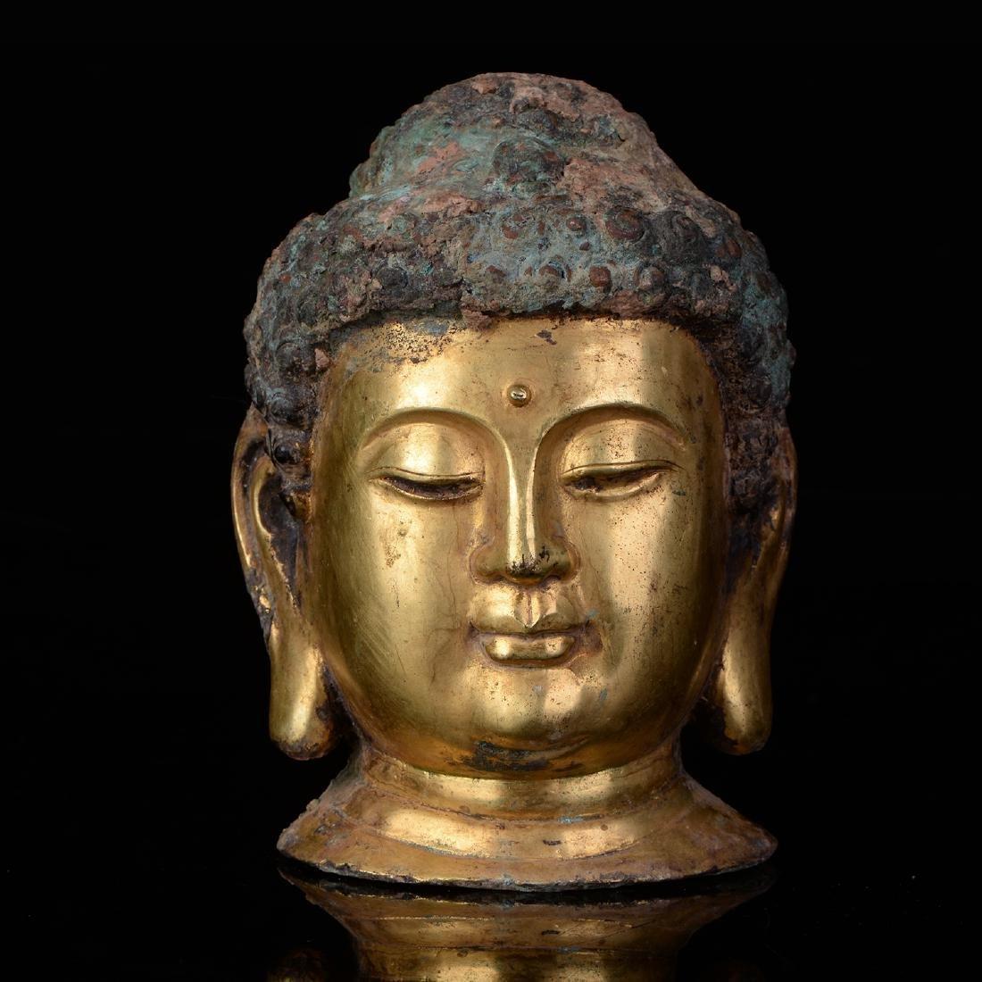 Chinese Qing Dynasty Tibetan Bronze Buddha Head