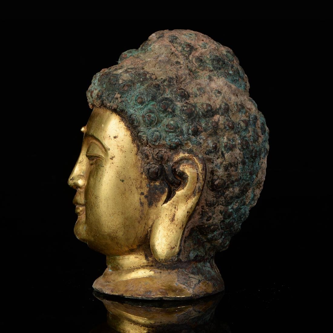 Chinese Qing Dynasty Tibetan Bronze Buddha Head - 2