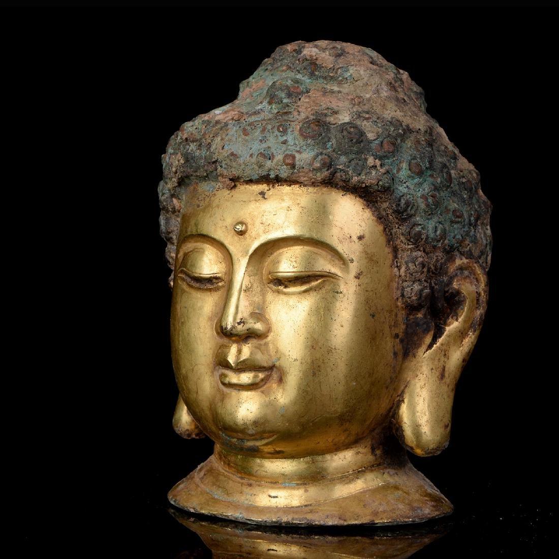 Chinese Qing Dynasty Tibetan Bronze Buddha Head - 3