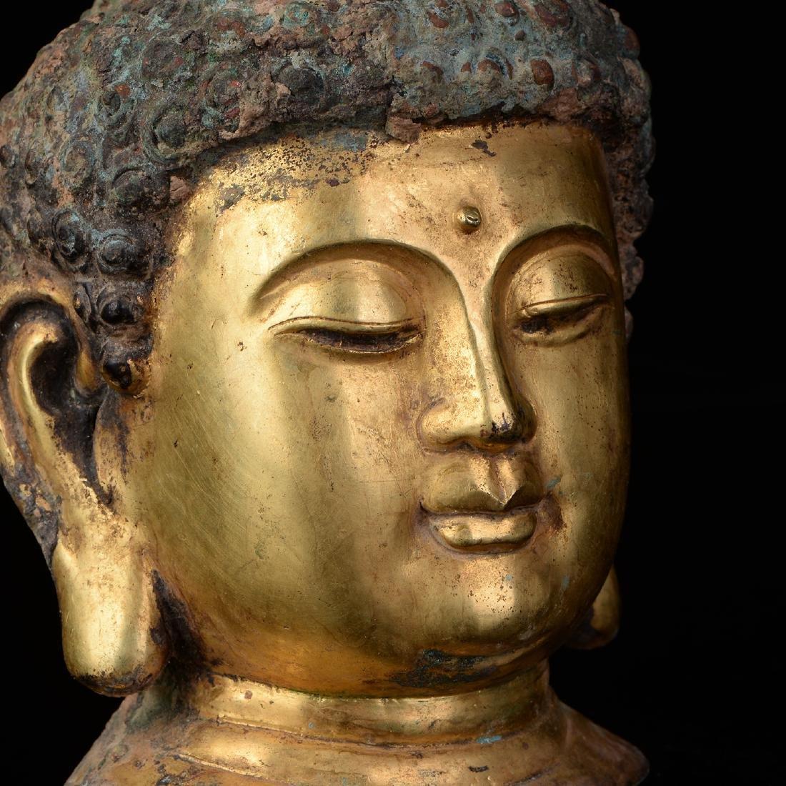 Chinese Qing Dynasty Tibetan Bronze Buddha Head - 5