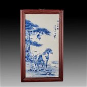 Chinese Porcelain Screen With Hardwood Frame