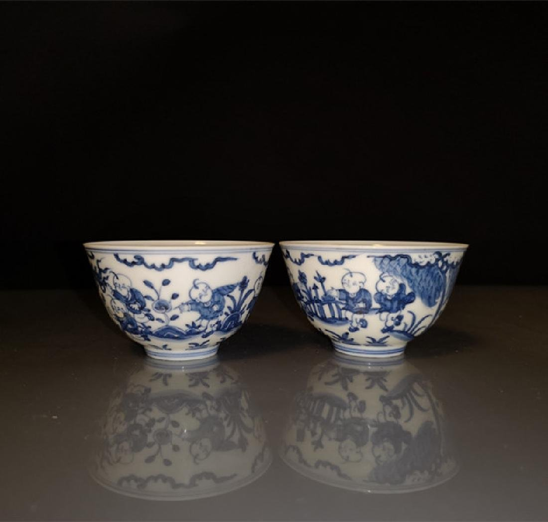 Pair of Chinese Blue And White Porcelain Bowls