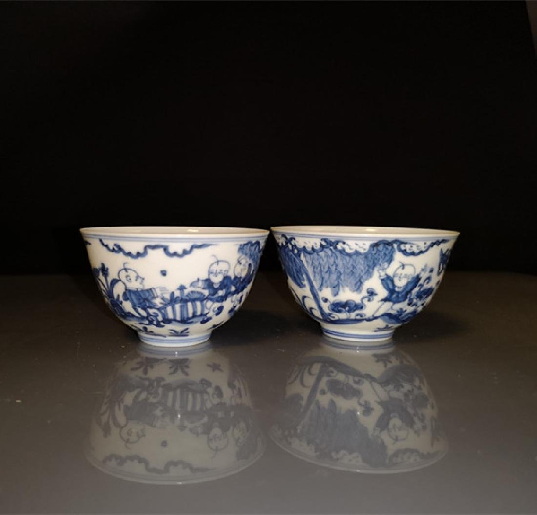 Pair of Chinese Blue And White Porcelain Bowls - 6