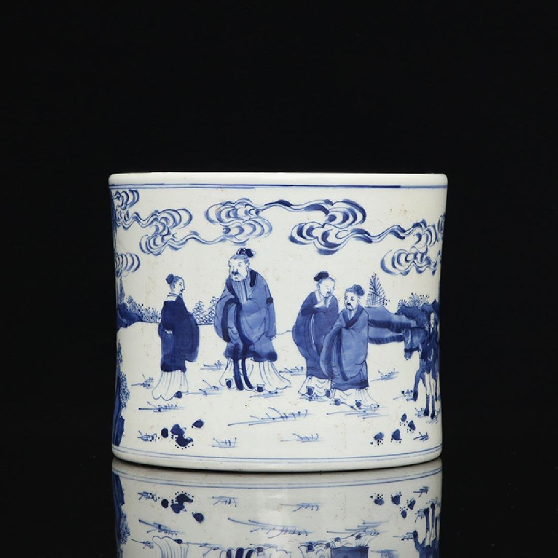 Chinese Blue And White Porcelain Brush pot - 4